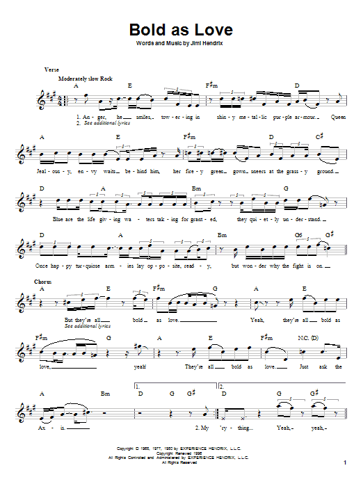 Jimi Hendrix Bold As Love sheet music notes and chords. Download Printable PDF.