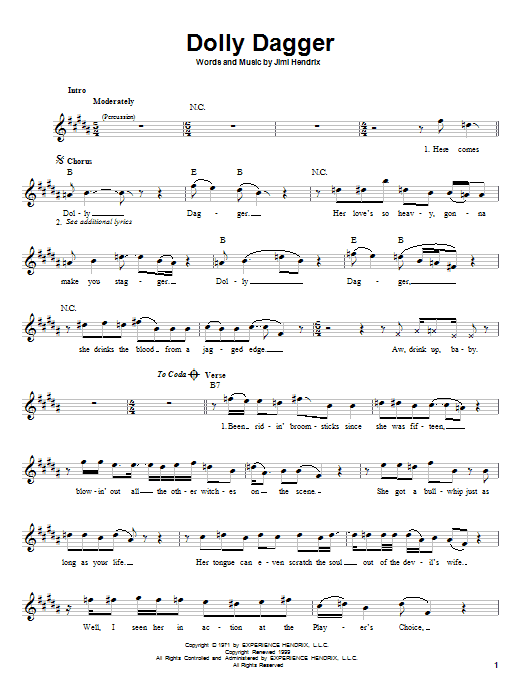 Jimi Hendrix Dolly Dagger sheet music notes and chords. Download Printable PDF.