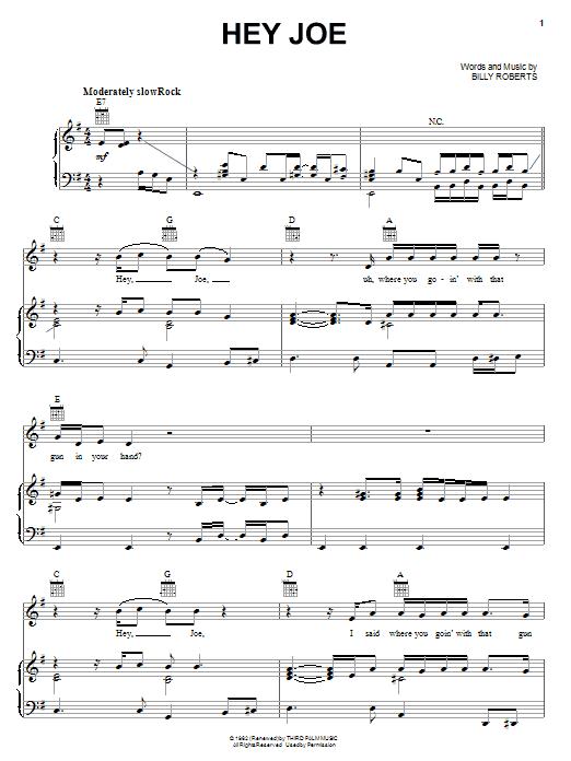 Jimi Hendrix Hey Joe sheet music notes and chords. Download Printable PDF.