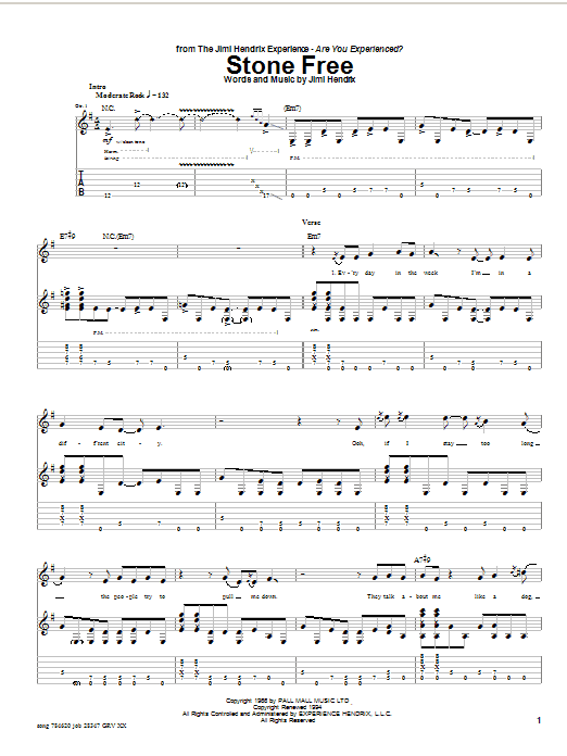 Jimi Hendrix Stone Free sheet music notes and chords. Download Printable PDF.