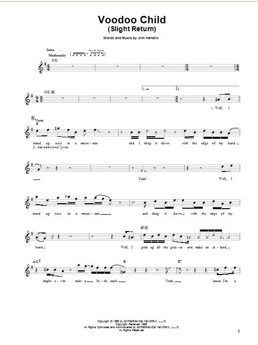 Jimi Hendrix Voodoo Child (Slight Return) sheet music notes and chords. Download Printable PDF.