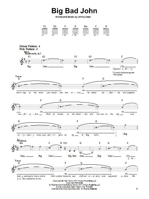 Jimmy Dean Big Bad John sheet music notes and chords. Download Printable PDF.