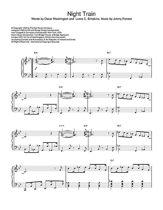 Jimmy Forrest Night Train sheet music notes printable PDF score