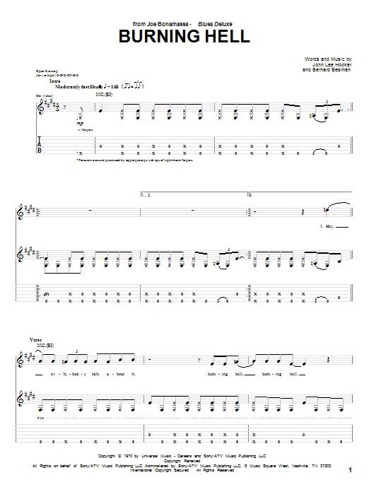 Joe Bonamassa Burning Hell sheet music notes and chords. Download Printable PDF.