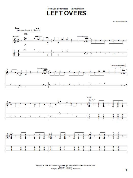 Joe Bonamassa Left Overs sheet music notes and chords - download printable PDF.
