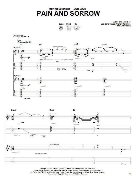 Joe Bonamassa Pain And Sorrow sheet music notes and chords - download printable PDF.