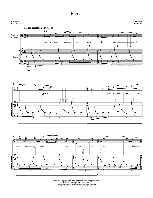 Joe Cutler Bands (for tenor & piano) sheet music notes printable PDF score