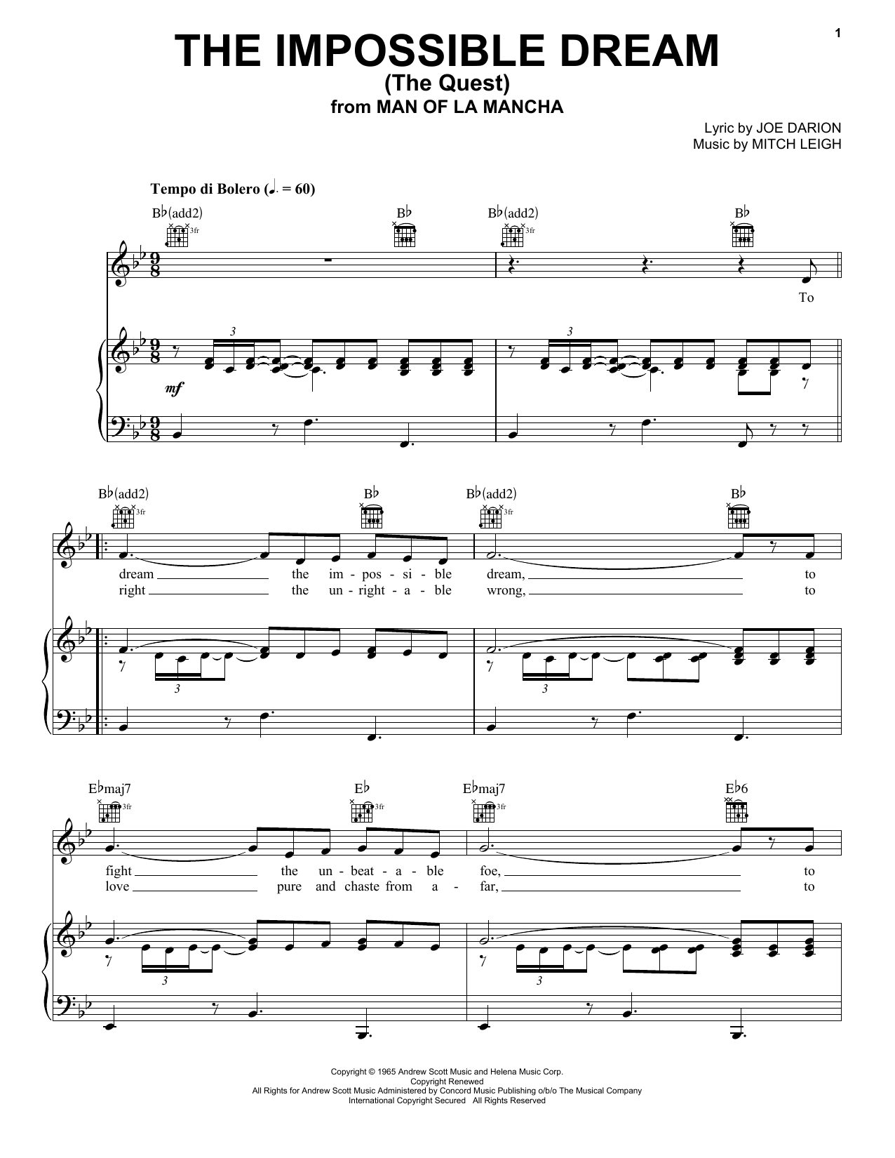 Joe Darion The Impossible Dream (The Quest) sheet music notes and chords. Download Printable PDF.