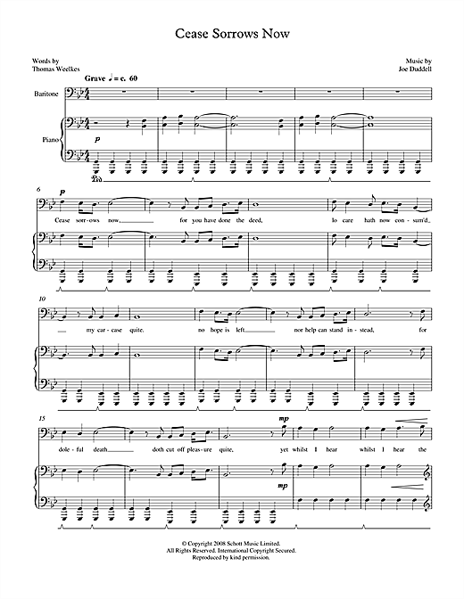 Joe Duddell Cease Sorrows Now (for baritone & piano) sheet music notes printable PDF score