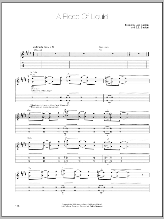 Joe Satriani A Piece Of Liquid sheet music notes and chords. Download Printable PDF.