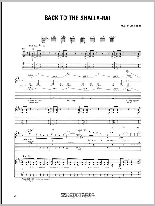 Joe Satriani Back To The Shalla-Bal sheet music notes and chords - download printable PDF.