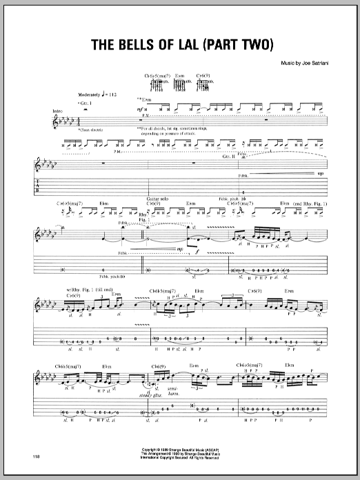 Joe Satriani Bells Of Lal (Part Two) sheet music notes and chords. Download Printable PDF.