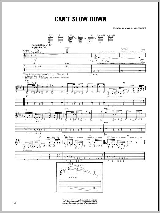 Joe Satriani Can't Slow Down sheet music notes and chords. Download Printable PDF.
