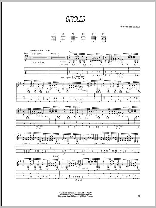 Joe Satriani Circles sheet music notes and chords - download printable PDF.