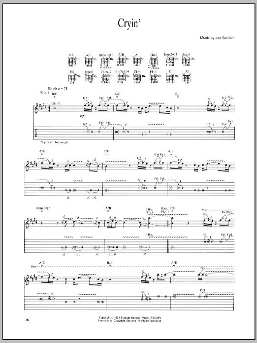 Joe Satriani Cryin' sheet music notes and chords. Download Printable PDF.