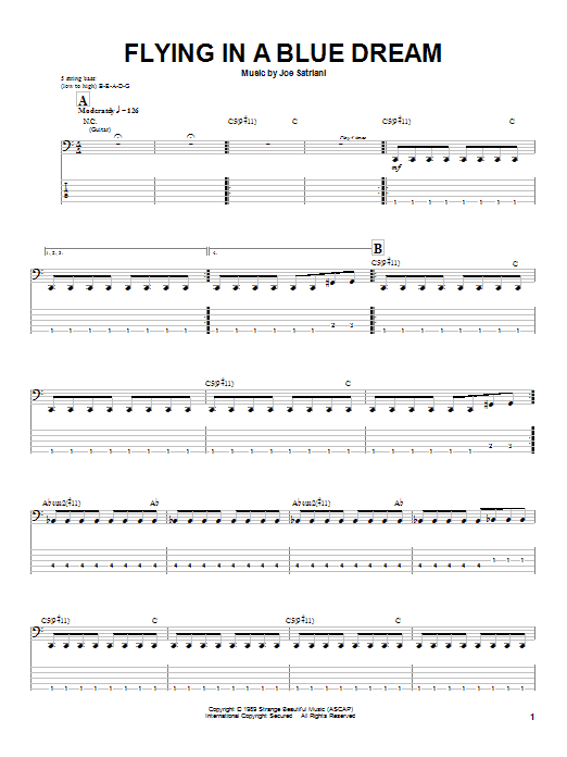 Joe Satriani Flying In A Blue Dream sheet music notes and chords - download printable PDF.