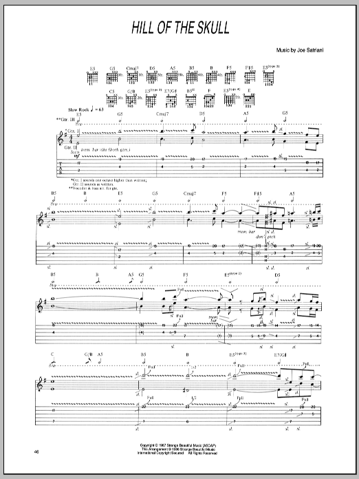 Joe Satriani Hill Of The Skull sheet music notes and chords. Download Printable PDF.