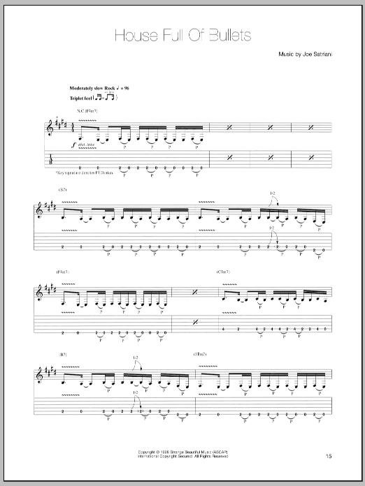 Joe Satriani House Full Of Bullets sheet music notes and chords. Download Printable PDF.