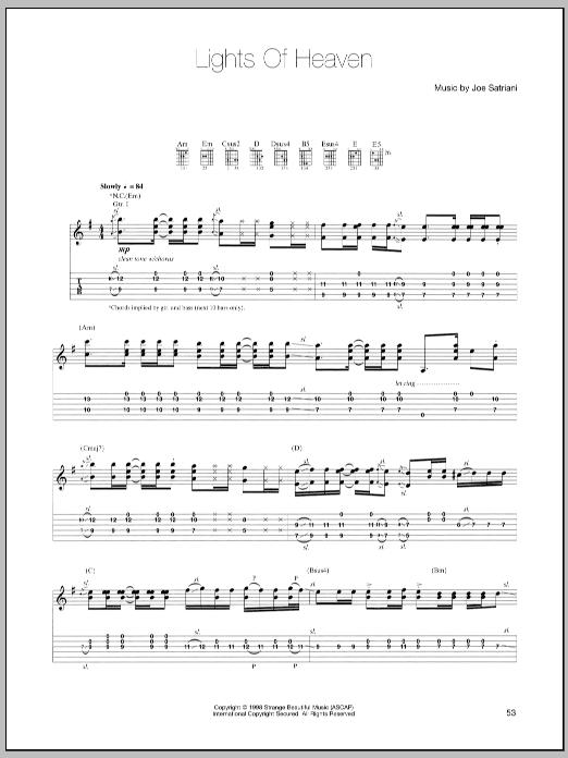 Joe Satriani Lights Of Heaven sheet music notes and chords. Download Printable PDF.