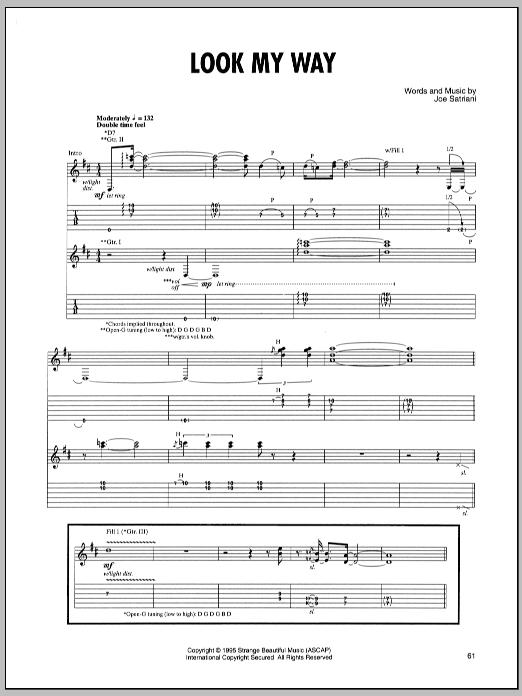 Joe Satriani Look My Way sheet music notes and chords - download printable PDF.