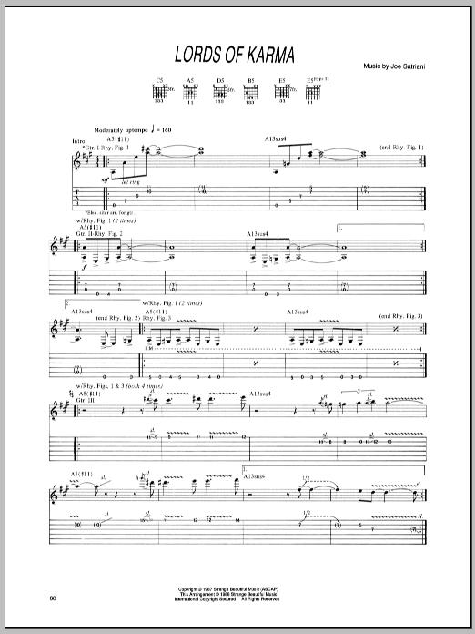 Joe Satriani Lords Of Karma sheet music notes and chords. Download Printable PDF.