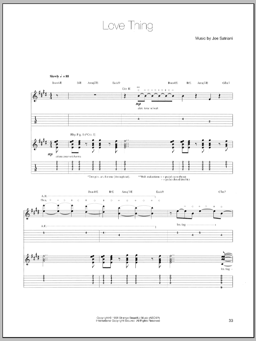Joe Satriani Love Thing sheet music notes and chords - download printable PDF.