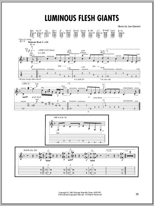 Joe Satriani Luminous Flesh Giants sheet music notes and chords. Download Printable PDF.