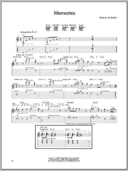 Joe Satriani Memories sheet music notes and chords. Download Printable PDF.