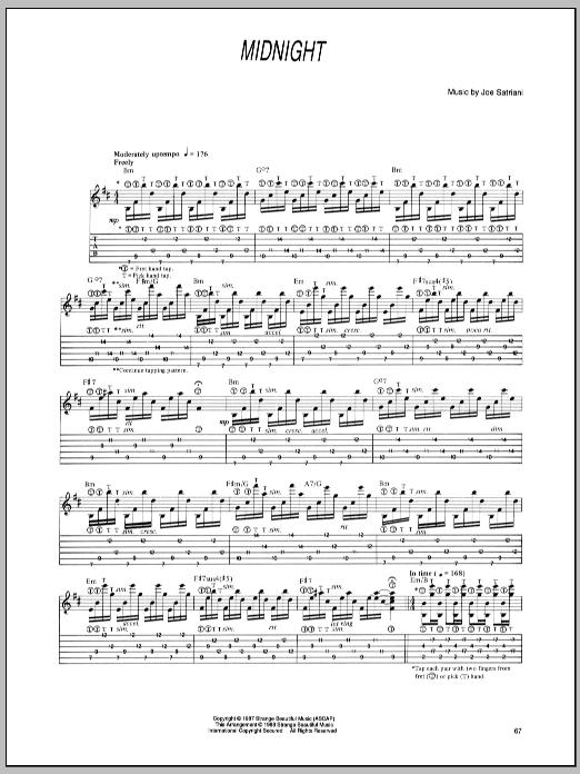 Joe Satriani Midnight sheet music notes and chords - download printable PDF.