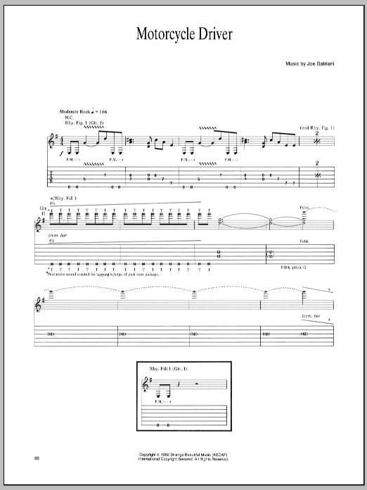 Joe Satriani Motorcycle Driver sheet music notes and chords - download printable PDF.