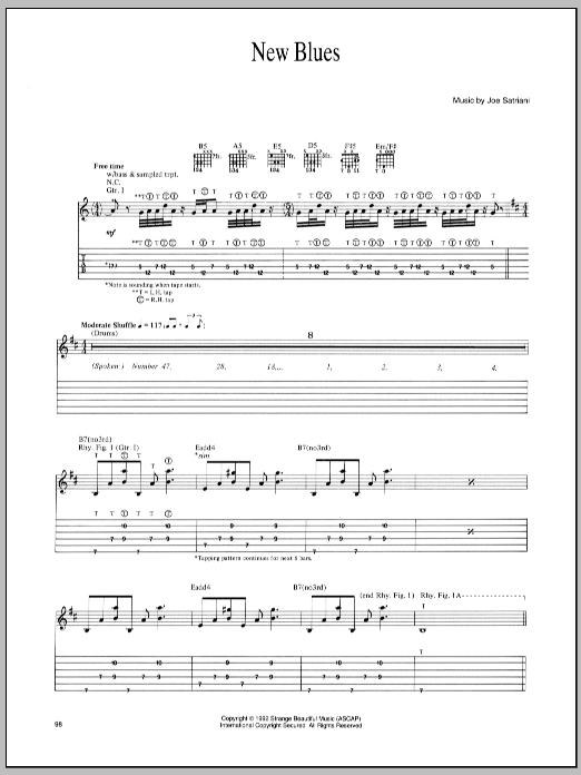 Joe Satriani New Blues sheet music notes and chords. Download Printable PDF.
