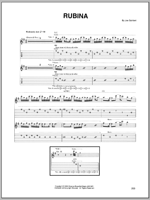 Joe Satriani Rubina sheet music notes and chords. Download Printable PDF.