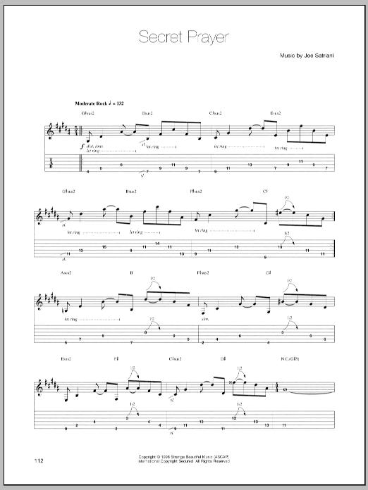 Joe Satriani Secret Prayer sheet music notes and chords. Download Printable PDF.