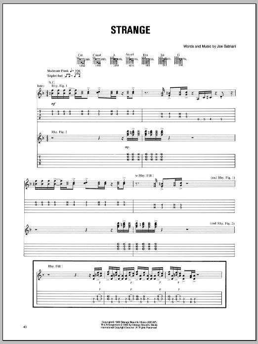 Joe Satriani Strange sheet music notes and chords. Download Printable PDF.