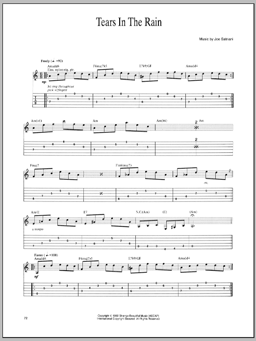 Joe Satriani Tears In The Rain sheet music notes and chords. Download Printable PDF.