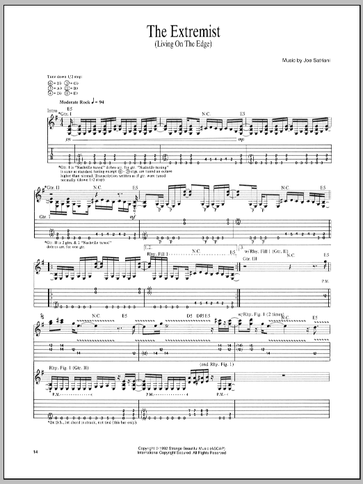 Joe Satriani The Extremist sheet music notes and chords - download printable PDF.
