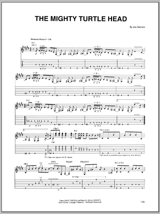 Joe Satriani The Mighty Turtle Head sheet music notes and chords. Download Printable PDF.