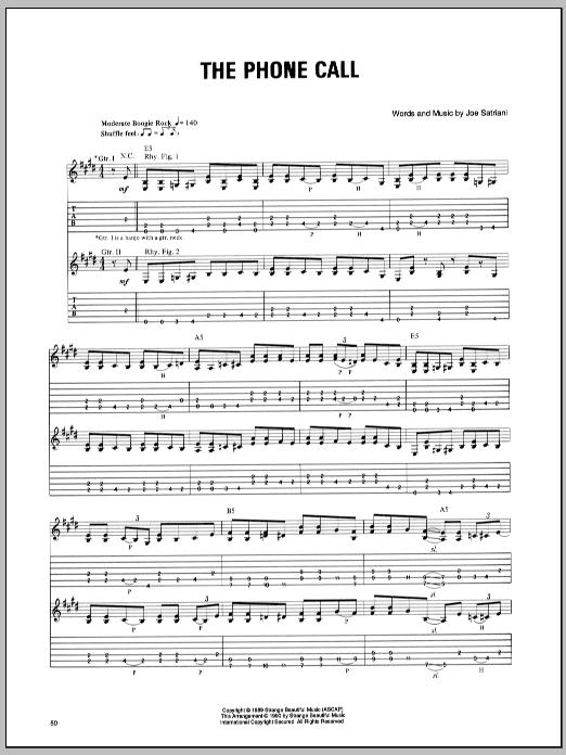 Joe Satriani The Phone Call sheet music notes and chords. Download Printable PDF.
