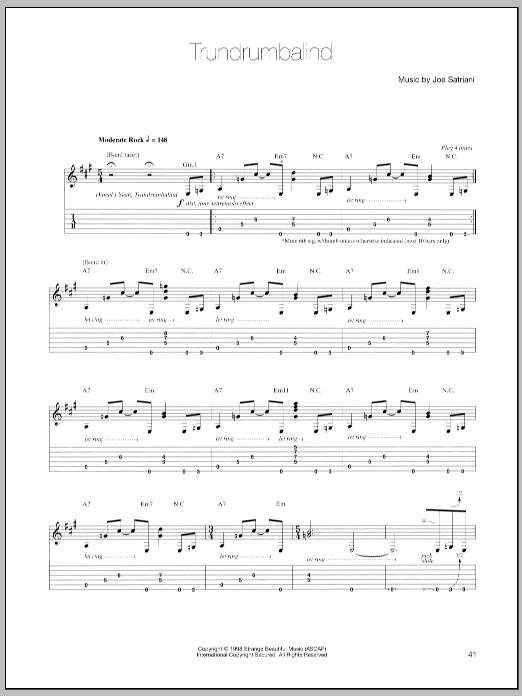 Joe Satriani Trundrumbalind sheet music notes and chords. Download Printable PDF.