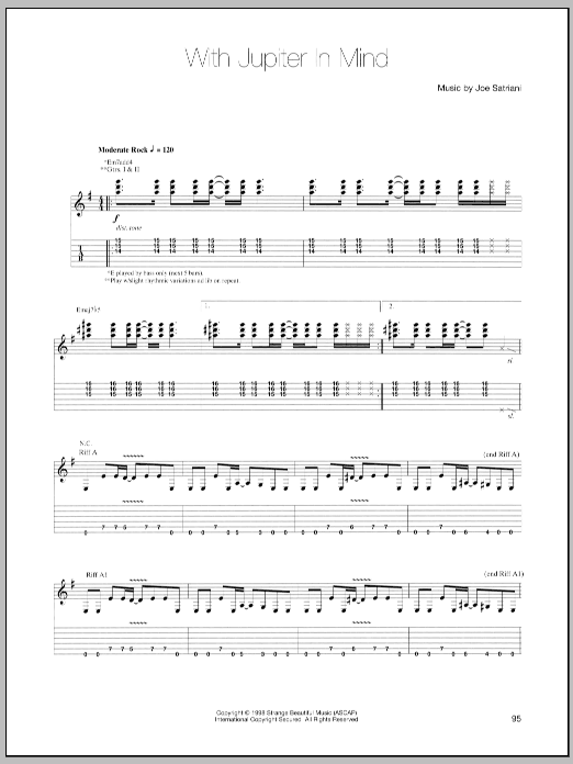 Joe Satriani With Jupiter In Mind sheet music notes and chords - download printable PDF.