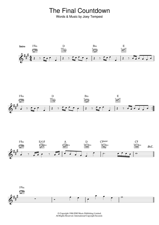 Joey Tempest The Final Countdown sheet music notes and chords. Download Printable PDF.