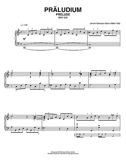 Johann Sebastian Bach Prelude, BWV 939 sheet music notes printable PDF score