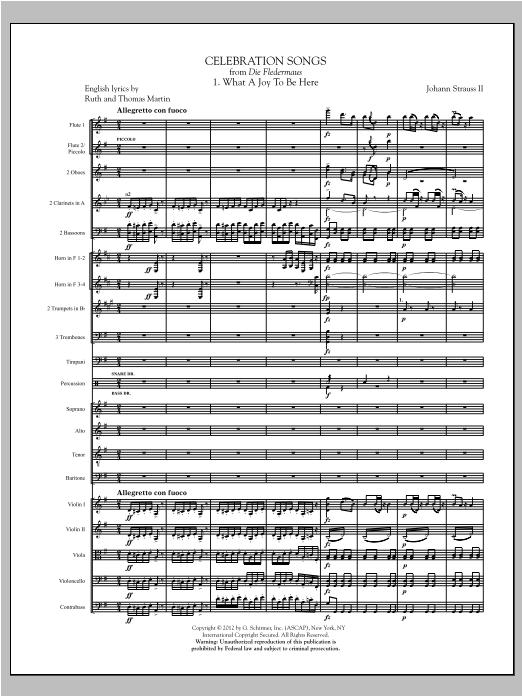 Johann Strauss Celebration Songs (from Die Fledermaus) - Full Score sheet music notes printable PDF score