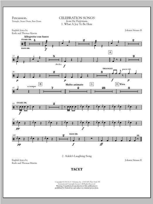 Johann Strauss Celebration Songs (from Die Fledermaus) - Percussion sheet music notes printable PDF score