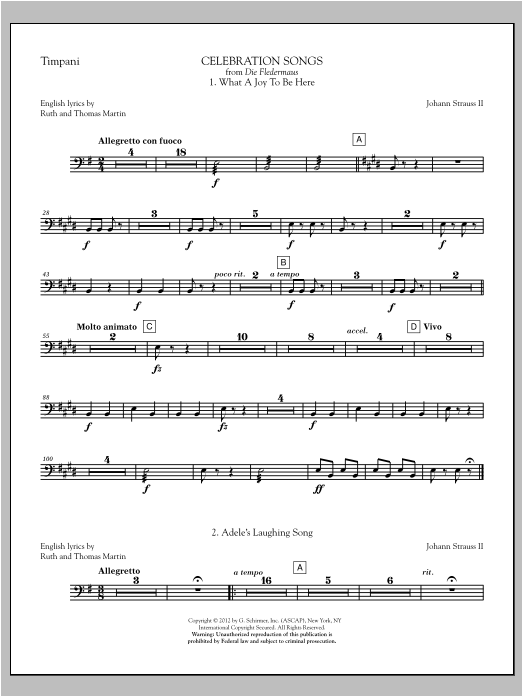Johann Strauss Celebration Songs (from Die Fledermaus) - Timpani sheet music notes printable PDF score