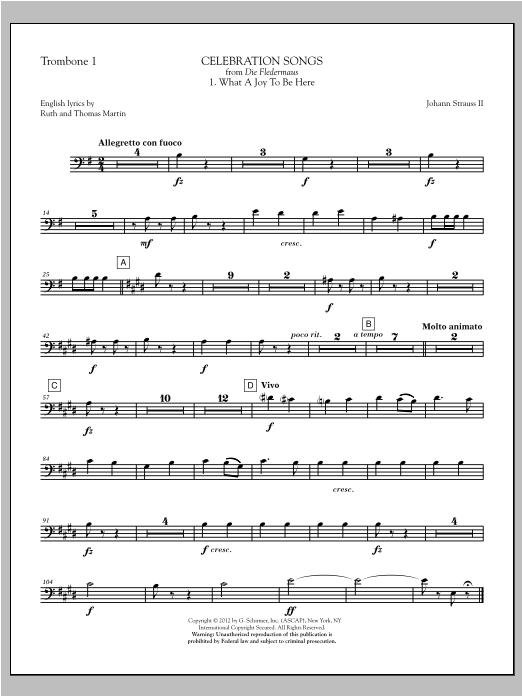 Johann Strauss Celebration Songs (from Die Fledermaus) - Trombone 1 sheet music notes printable PDF score