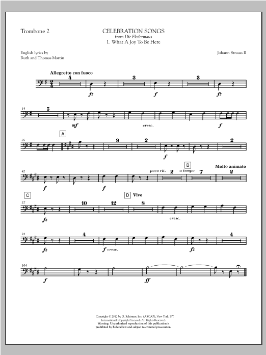 Johann Strauss Celebration Songs (from Die Fledermaus) - Trombone 2 sheet music notes printable PDF score