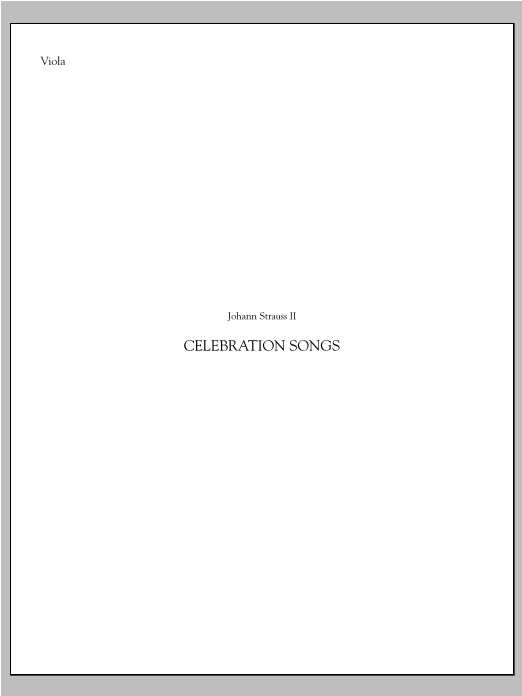 Johann Strauss Celebration Songs (from Die Fledermaus) - Viola sheet music notes printable PDF score