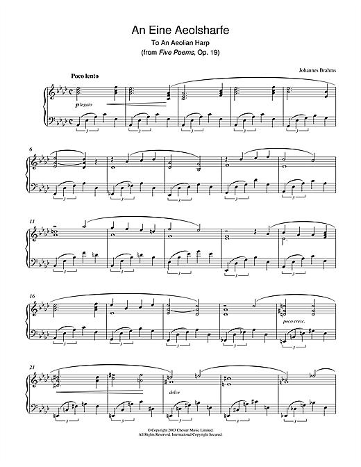 Johannes Brahms An Eine Aeolsharfe (from Five Poems, Op. 19) sheet music notes printable PDF score