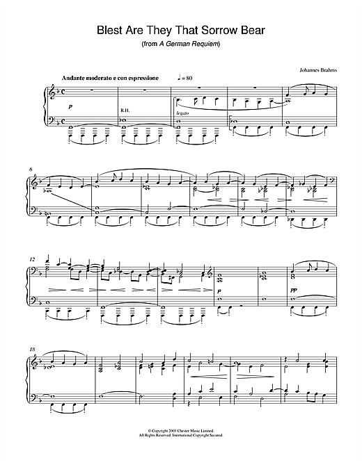 Johannes Brahms Blest Are They That Sorrow Bear (from A German Requiem) sheet music notes and chords. Download Printable PDF.